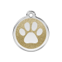 Hondenpenning Glitter Enamel Tag Paw Prints gold