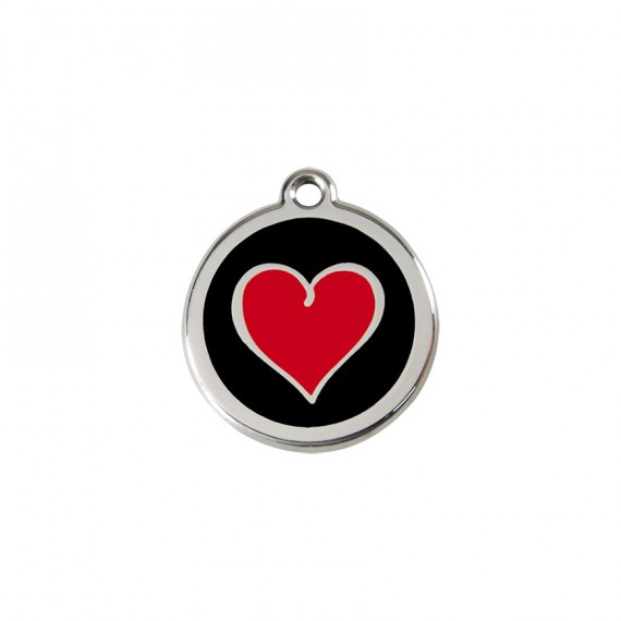 Hondenpenning Heart Black