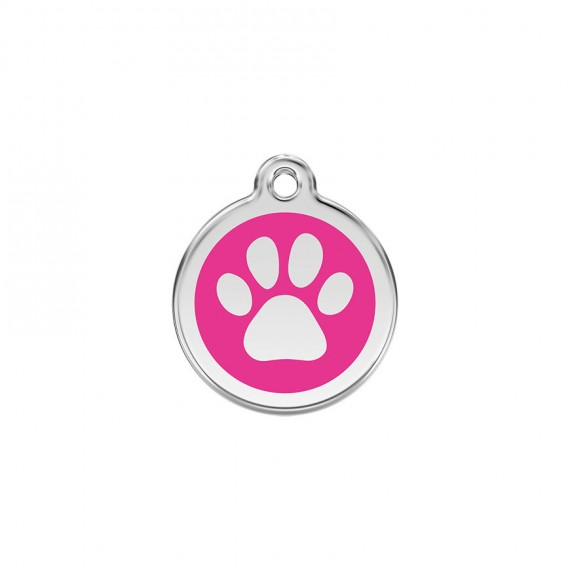 Hondenpenning-Paw-Print-Hot-Pink