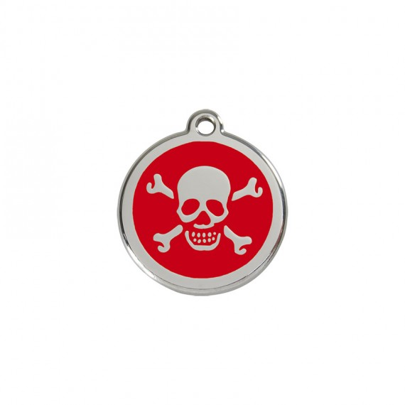 Hondenpenning-Skull-&-Cross-Bones-REd