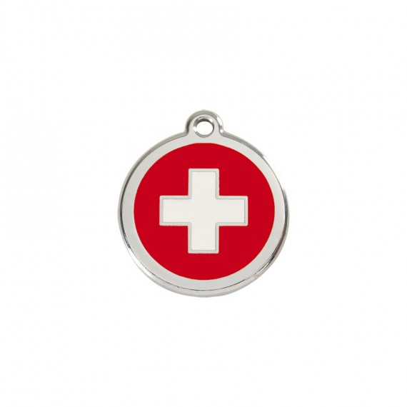 Hondenpenning-Swiss-Cross-Red