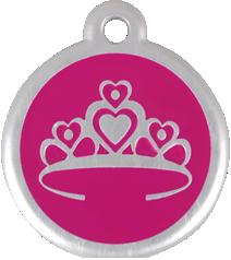 QR Hondenpenning kroon roze Red Dingo