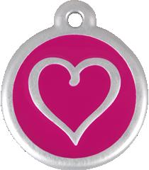 QR Hondenpenning hart roze Red Dingo