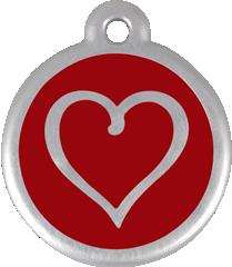 QR Hondenpenning hart rood Red Dingo