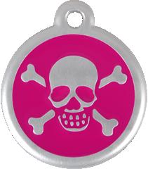 QR Hondenpenning piraat roze Red Dingo