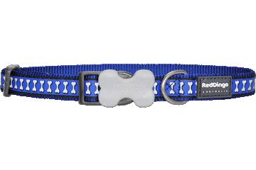 Reflecterende donkerblauwe Hondenhalsband Bones