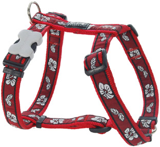 Design hondentuig Hibiscus Red van Red Dingo