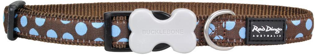Hondenhalsband blue spot on brown