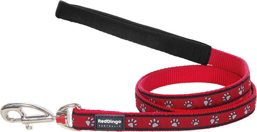 Hondenriem Pawprints Red