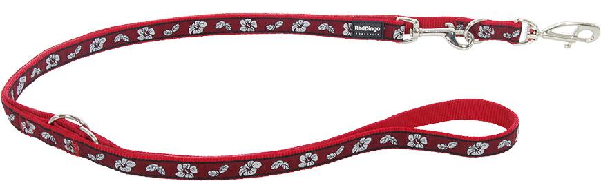 Dubbele hondenriem Hibiscus rood