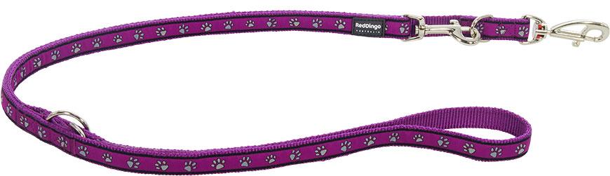 Dubbele hondenriem Pawprints Purple