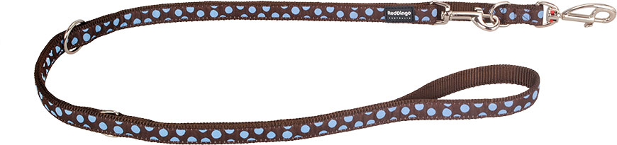 Dubbele hondenriem blue spot on brown