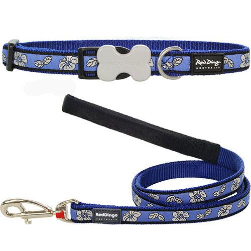 Hondenriem & halsband hibiscus blue